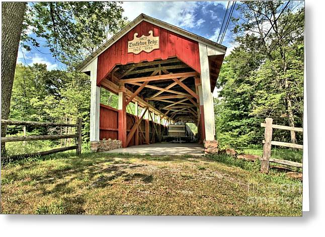 Trostle Town Covered Bridge Greeting Card by Adam Jewell