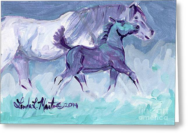 Llmartin Greeting Cards - Trot Greeting Card by Linda L Martin