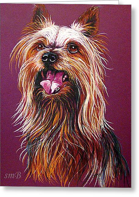 Breed Of Dog Drawings Greeting Cards - Trouble Greeting Card by Susan Bergstrom