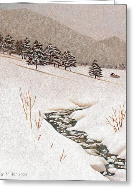 Snowstorm Drawings Greeting Cards - Troublesome Creek Greeting Card by Dan Miller