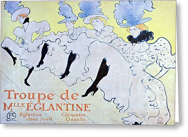 Belle Epoque Mixed Media Greeting Cards - Troupe de Mlle Eglantine Greeting Card by Henri Toulouse Lautrec