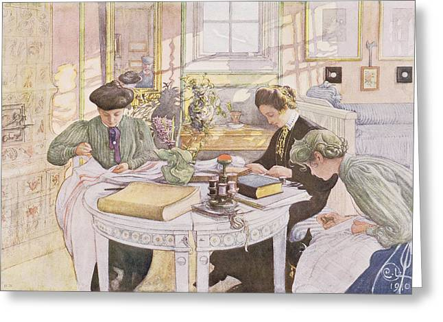 Outfit Greeting Cards - Trousseau, Pub. In Lasst Licht Hinin Greeting Card by Carl Larsson