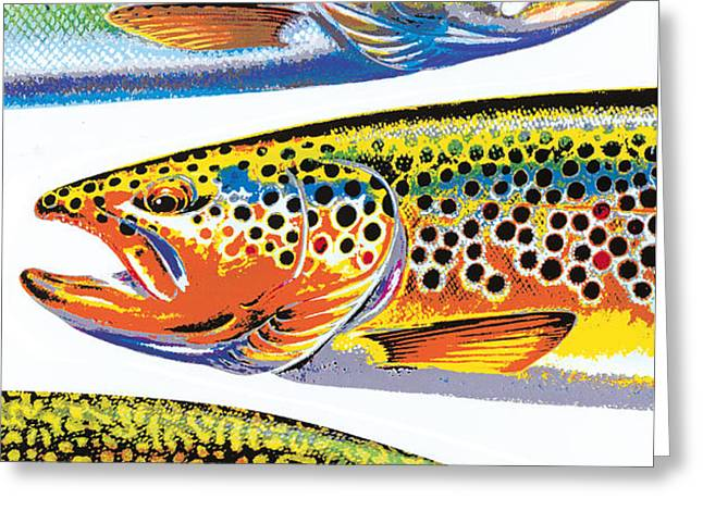 Trout Abstraction Greeting Card by JQ Licensing