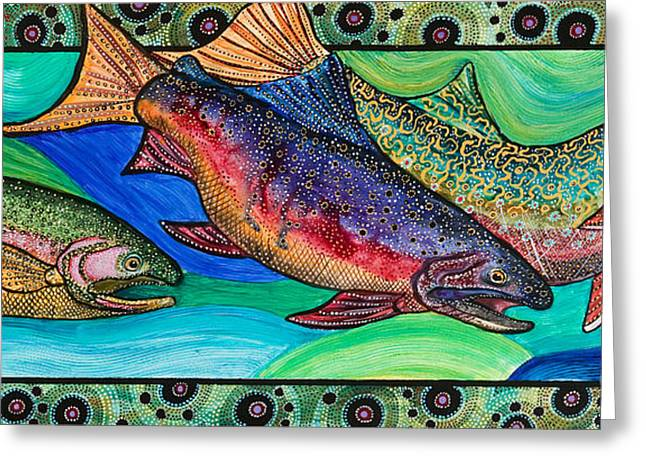 Cole Paintings Greeting Cards - Trout Alive Greeting Card by Melissa Cole