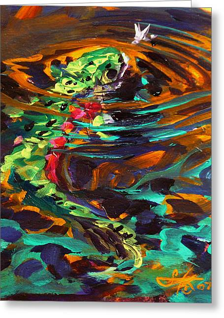 Sporting Greeting Cards - Trout and Fly II Greeting Card by Savlen Art