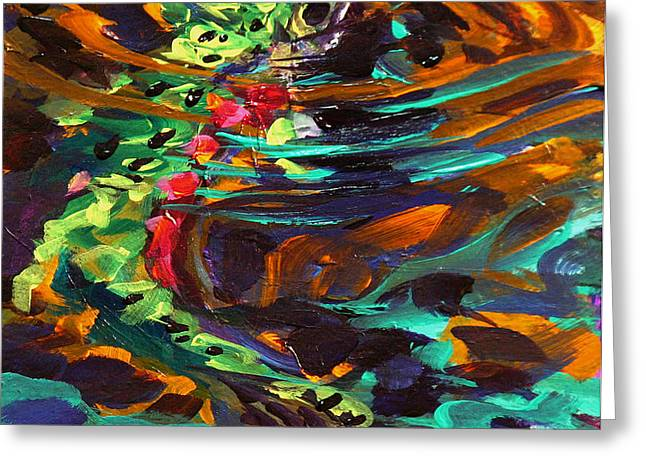 Trout and Fly II Greeting Card by Savlen Art