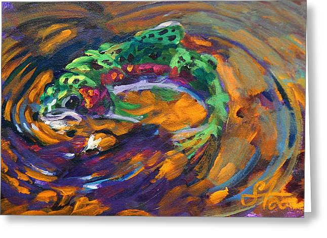 Abstract Seascape Greeting Cards - Trout and Fly Greeting Card by Mike Savlen