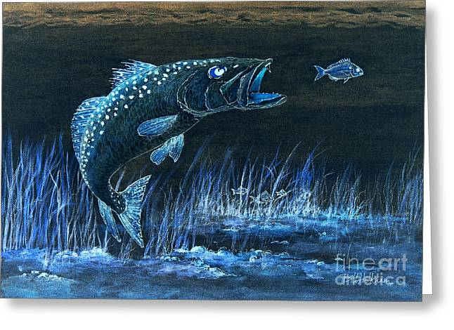 Speckled Trout Greeting Cards - Trout Attack 1 In Blue Greeting Card by Bill Holkham