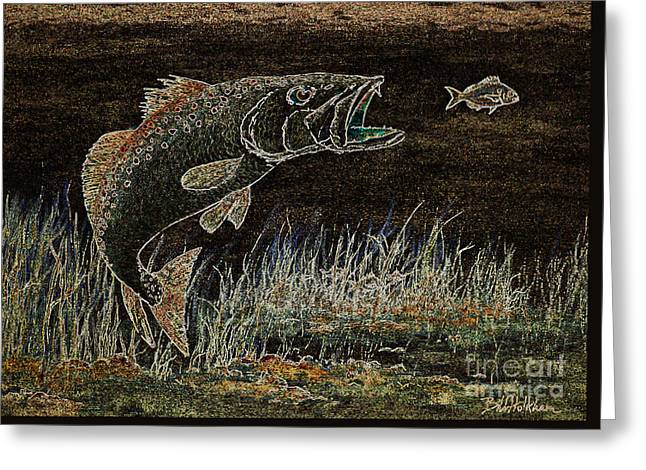 Trout Attack 3 In Brown And Gold Greeting Card by Bill Holkham