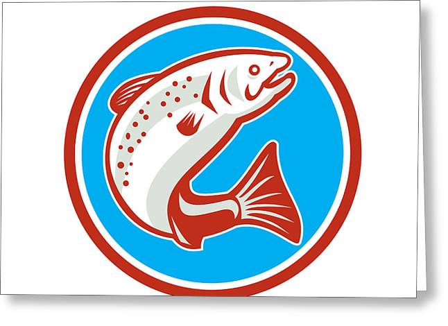 Speckled Trout Greeting Cards - Trout Fish Jumping Circle Retro Greeting Card by Aloysius Patrimonio