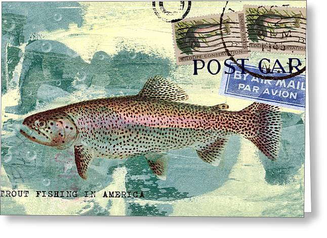 Trout Fishing In America Postcard Greeting Card by Carol Leigh
