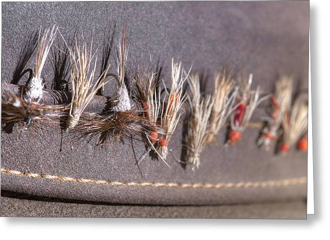 Fishing Hat Greeting Cards - Trout Flies - My Fathers Hat Greeting Card by Rob Greebon