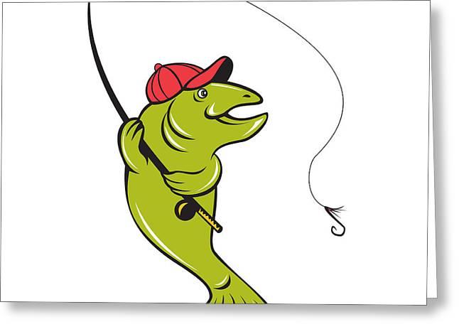 Rainbow Trout Digital Art Greeting Cards - Trout Fly Fishing Rod Hook Cartoon Greeting Card by Aloysius Patrimonio