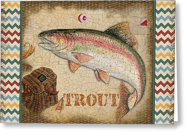 Brown Trout Greeting Cards - Trout-Chevron Greeting Card by Jean Plout