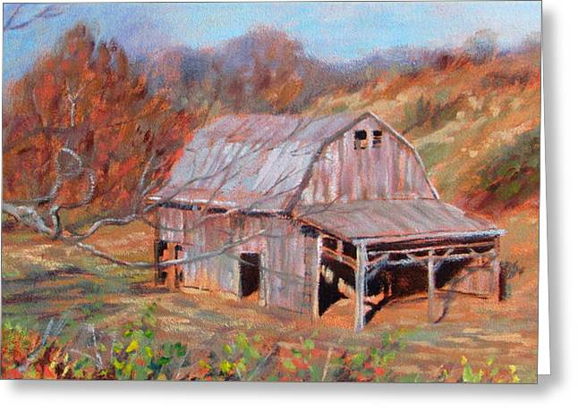 Blue And Green Greeting Cards - Troutville Barn Greeting Card by Bonnie Mason