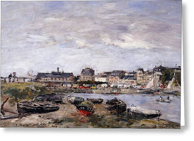 Docked Sailboat Greeting Cards - Trouville View toward Deauville on Market Day Greeting Card by Eugene Louis Boudin