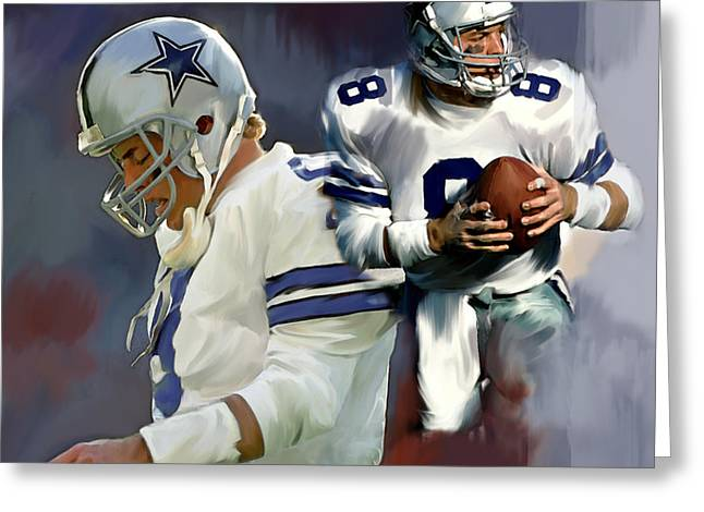 Fame Drawings Greeting Cards - Troy Aikman  Aikam Greeting Card by Iconic Images Art Gallery David Pucciarelli