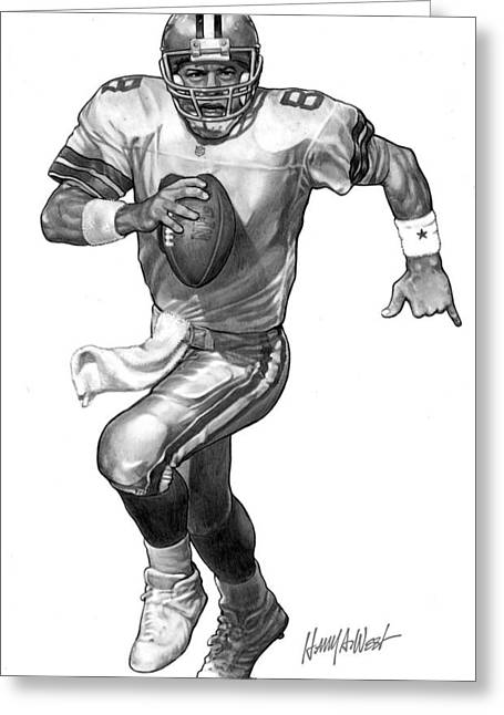 Cowboy Pencil Drawings Greeting Cards - Troy Aikman Greeting Card by Harry West