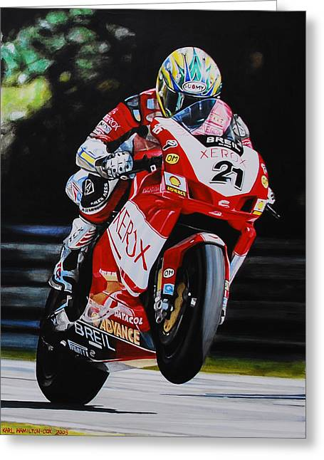 Xerox Greeting Cards - Troy Bayliss Greeting Card by Karl Hamilton-Cox