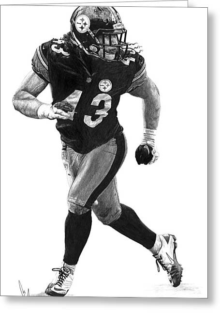 Pittsburgh Drawings Greeting Cards - Troy Polamalu Greeting Card by Bobby Shaw