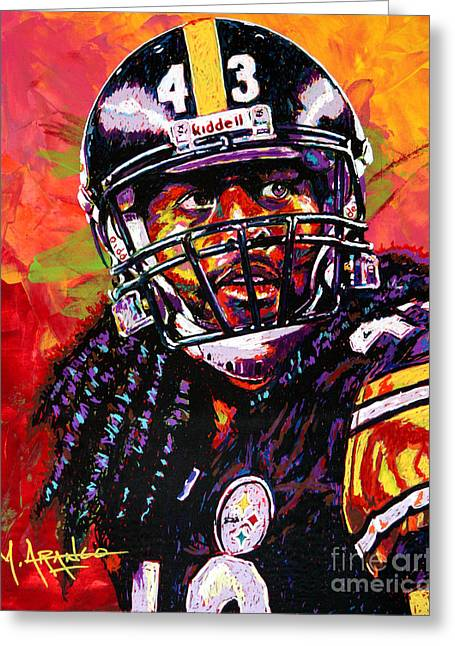 National Football League Paintings Greeting Cards - Troy Polamalu Greeting Card by Maria Arango