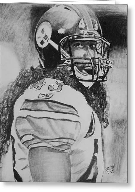 Steelers Drawings Greeting Cards - Troy Polamolu Greeting Card by Jeremy Moore