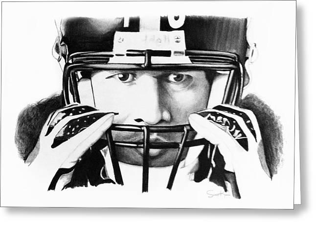 Steelers Drawings Greeting Cards - Troy Greeting Card by Scott Karan