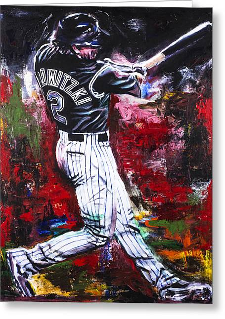 Baseball Art Greeting Cards - Troy Tulowitzki Greeting Card by Mark Courage