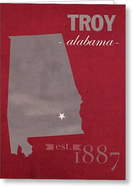 Trojan Greeting Cards - Troy University Trojans Alabama College Town State Map Poster Series No 113 Greeting Card by Design Turnpike