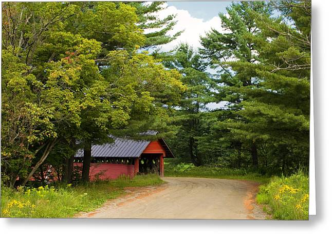 Country Dirt Roads Greeting Cards - Troy Vermont Covered Bridge Greeting Card by Stephanie McDowell