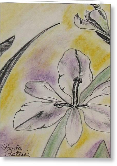 Iris Pastels Greeting Cards - Troys Iris Greeting Card by Paula Peltier