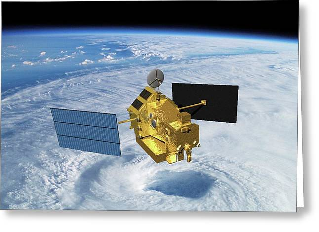 Trrm Rainfall Satellite Greeting Card by Nasa