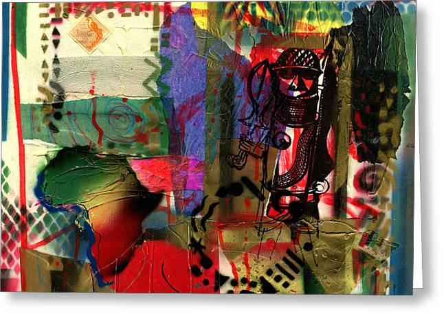 Everett Spruill Mixed Media Greeting Cards - TRS - Benin Warrior - 2003 Greeting Card by Everett Spruill