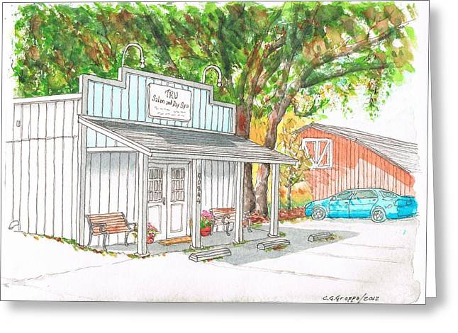 Barn Door Paintings Greeting Cards - Tru Salon and Day Spa in Three Rivers -California Greeting Card by Carlos G Groppa
