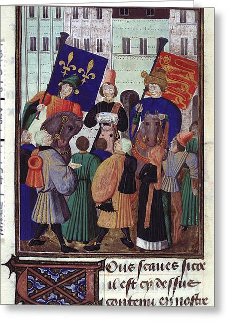 Proclamation Greeting Cards - Truce Between England And France Greeting Card by British Library