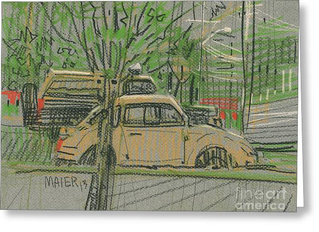 Yellows Drawings Greeting Cards - Truck and Beetle Greeting Card by Donald Maier