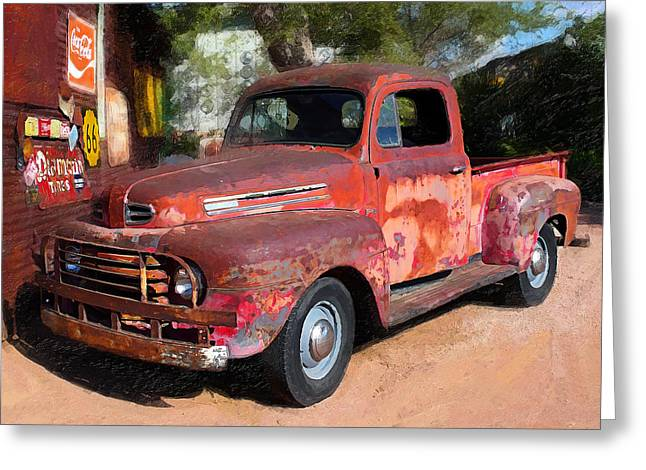 Truck And Hubcaps Greeting Card by Ron Regalado