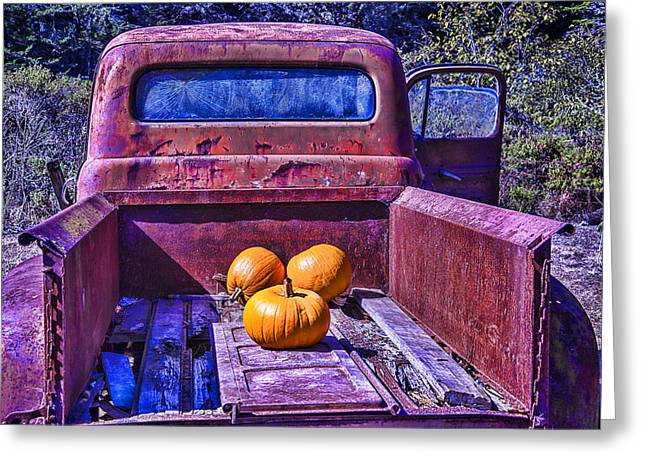 Rusty Pickup Truck Greeting Cards - Truck Bed Greeting Card by Garry Gay