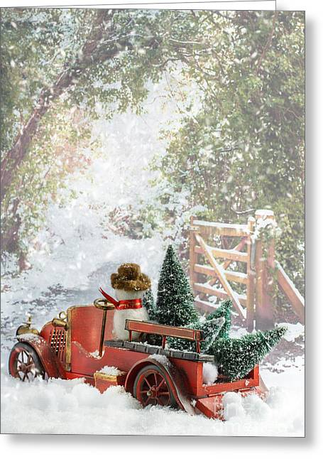 Snowball Greeting Cards - Truck Carrying Christmas Trees Greeting Card by Amanda And Christopher Elwell