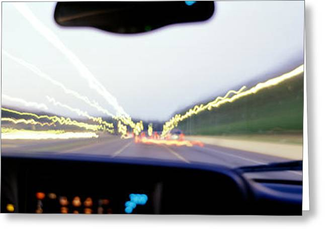 Acceleration Greeting Cards - Truck In Motion From Drivers Greeting Card by Panoramic Images