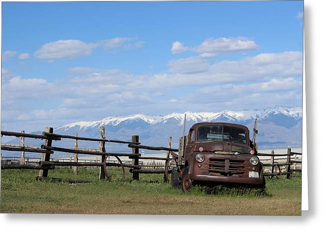 Truck Grill. Fence Greeting Cards - Truck in the Grass Greeting Card by Sharon Jones