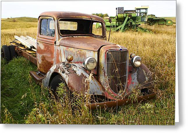 Erickson Greeting Cards - Truck Junked In Grass Greeting Card by Donald  Erickson