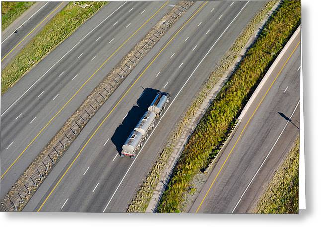 City Photography Greeting Cards - Truck Moving On A Highway, Interstate Greeting Card by Panoramic Images