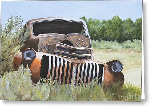 Classic Pickup Paintings Greeting Cards - Truck Stop Greeting Card by Shirley Miller