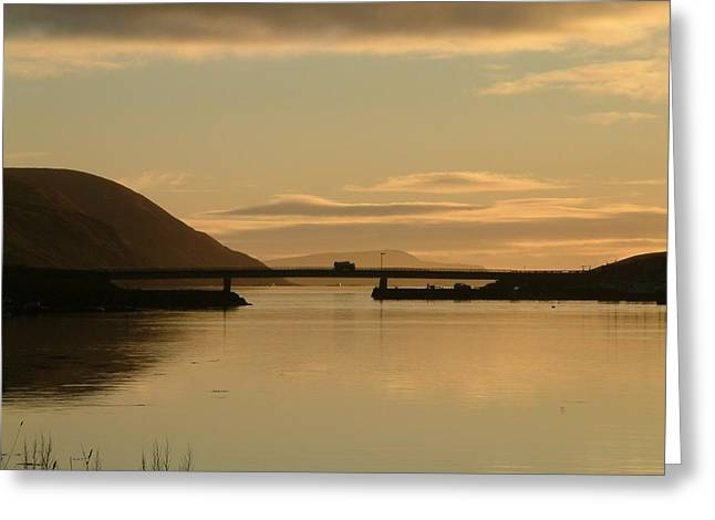 Reflection Of Sun In Clouds Greeting Cards - Truck Travelling Over Trondra Bridge Greeting Card by Anne Macdonald