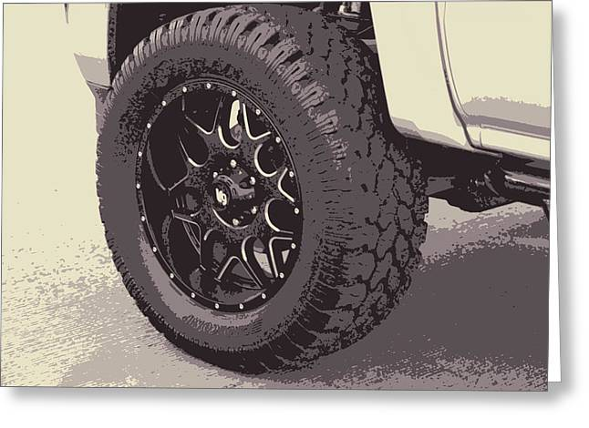 Transportation Reliefs Greeting Cards - Truck Wheel Cartoon Greeting Card by Linda Phelps