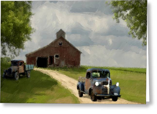 Grey Clouds Greeting Cards - Trucks And Barn Greeting Card by Jack Zulli