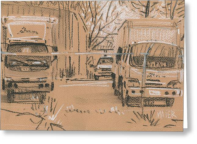 Fence Pastels Greeting Cards - Trucks Greeting Card by Donald Maier