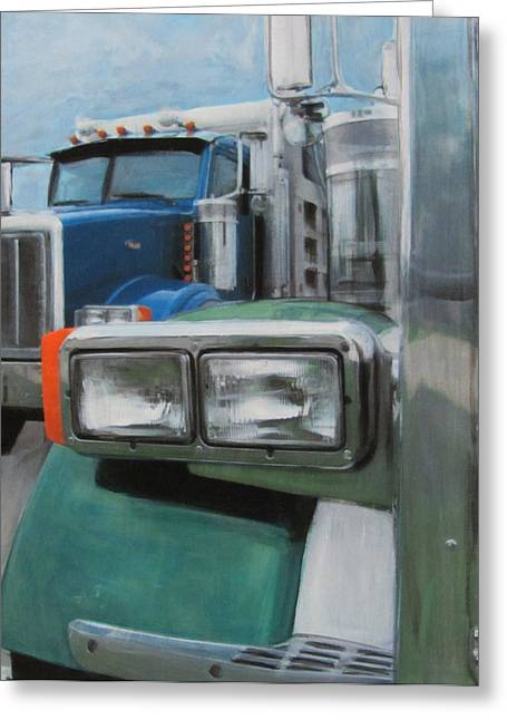 Headlight Mixed Media Greeting Cards - Trucks in Green and Blue Greeting Card by Anita Burgermeister