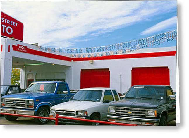 Main Street Greeting Cards - Trucks In Used Car Lot, Roswell, New Greeting Card by Panoramic Images